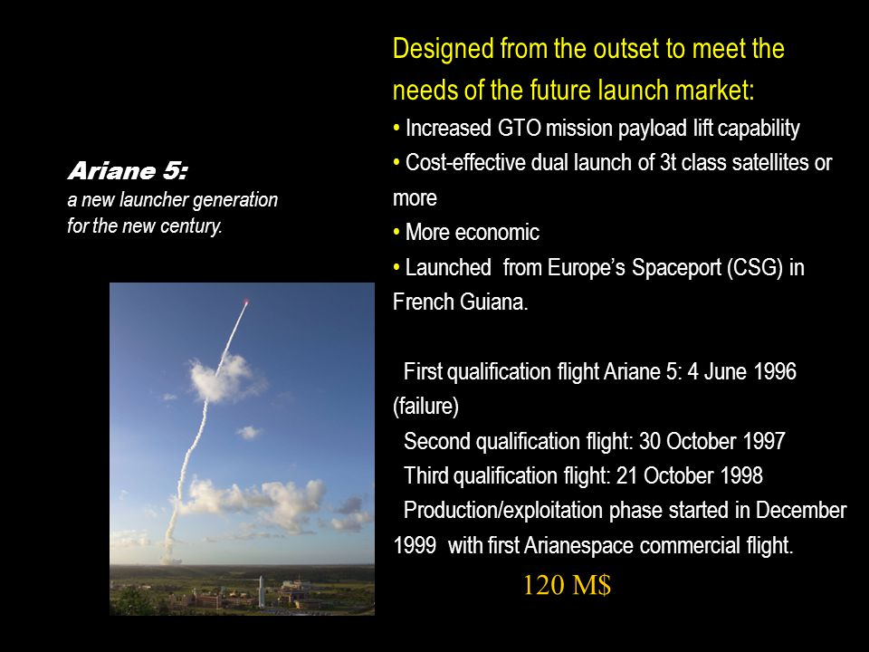 Ariane 5: a new launcher generation for the new century.