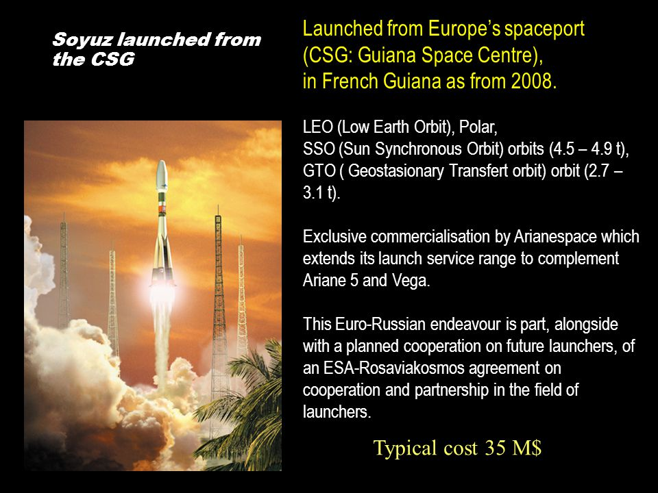 Soyuz launched from the CSG Launched from Europe's spaceport (CSG: Guiana Space Centre), in French Guiana as from 2008.