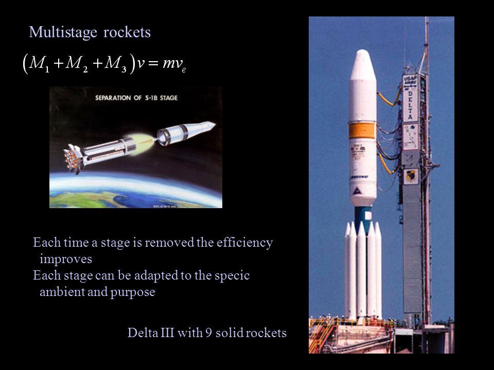 Multistage rockets Each time a stage is removed the efficiency improves Each stage can be adapted to the specic ambient and purpose Delta III with 9 solid rockets