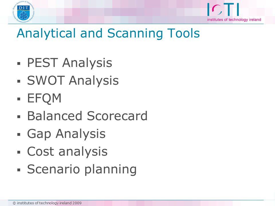 © institutes of technology ireland 2009 Analytical and Scanning Tools  PEST Analysis  SWOT Analysis  EFQM  Balanced Scorecard  Gap Analysis  Cos