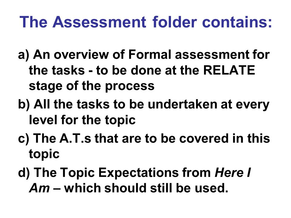 The Assessment folder contains: a) An overview of Formal assessment for the tasks - to be done at the RELATE stage of the process b) All the tasks to be undertaken at every level for the topic c) The A.T.s that are to be covered in this topic d) The Topic Expectations from Here I Am – which should still be used.