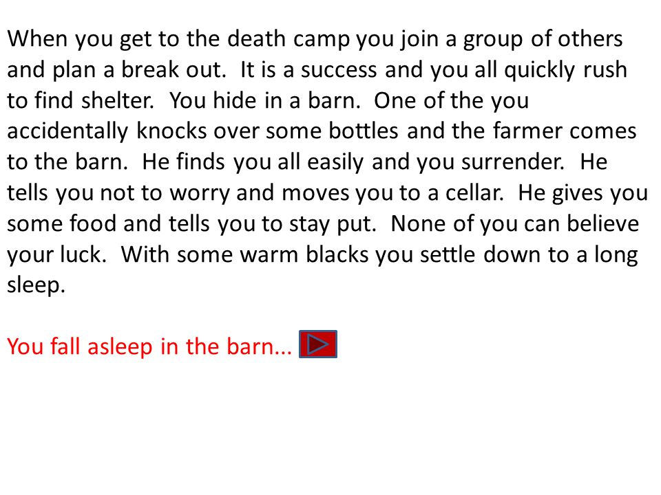 When you get to the death camp you join a group of others and plan a break out. It is a success and you all quickly rush to find shelter. You hide in