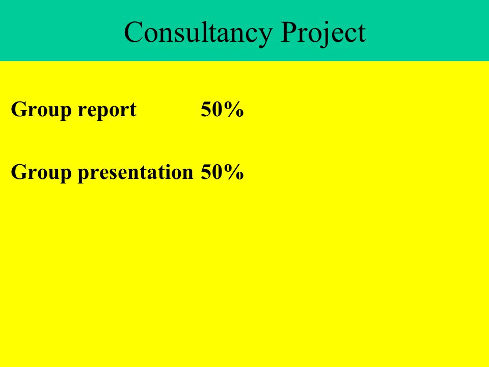 Consultancy Project Group report50% Group presentation50%