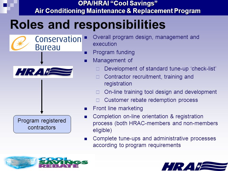 OPA/HRAI Cool Savings Air Conditioning Maintenance & Replacement Program Roles and responsibilities Program registered contractors Overall program design, management and execution Program funding Management of  Development of standard tune-up 'check-list'  Contractor recruitment, training and registration  On-line training tool design and development  Customer rebate redemption process Front line marketing Completion on-line orientation & registration process (both HRAC-members and non-members eligible) Complete tune-ups and administrative processes according to program requirements