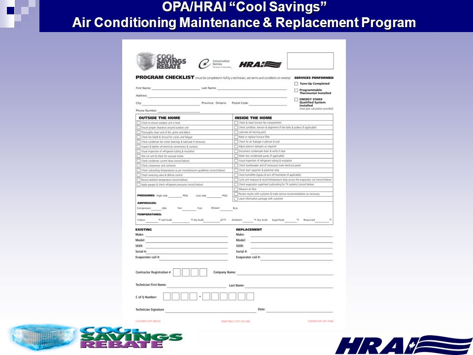 OPA/HRAI Cool Savings Air Conditioning Maintenance & Replacement Program
