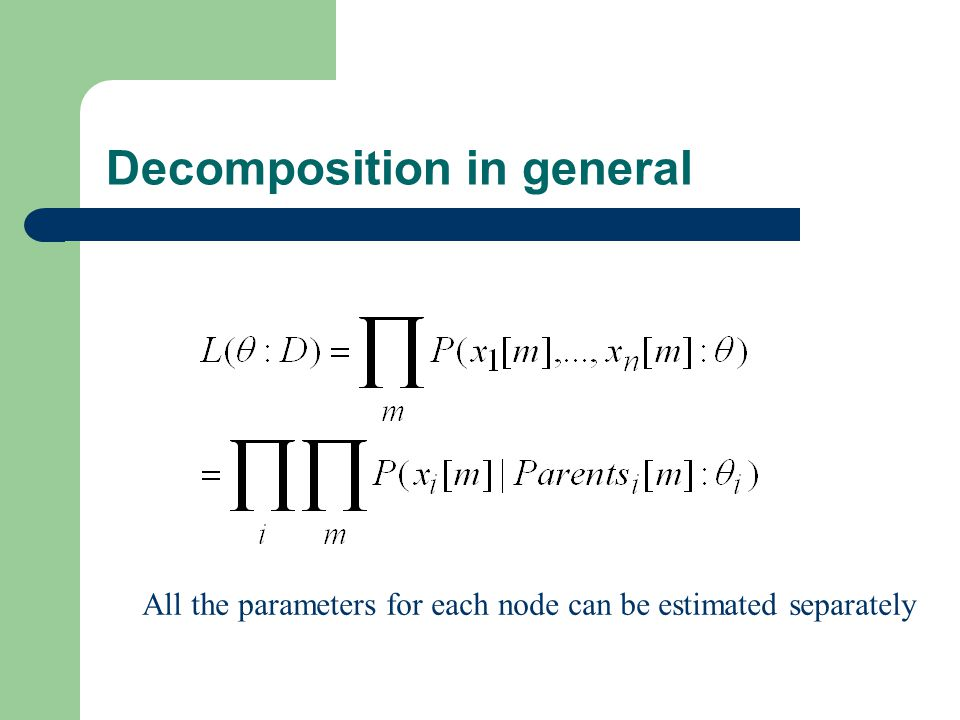 Decomposition in general All the parameters for each node can be estimated separately