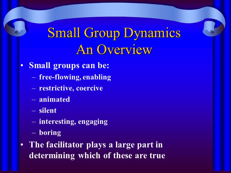 Small Group Dynamics An Overview Small groups can be: –free-flowing, enabling –restrictive, coercive –animated –silent –interesting, engaging –boring