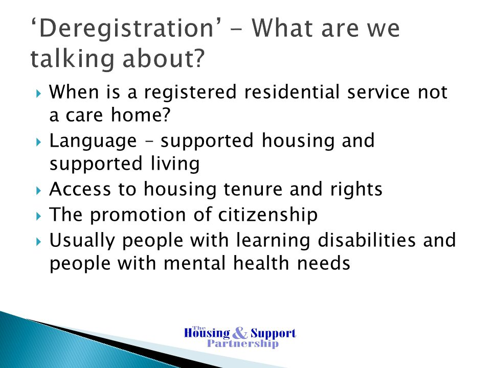 'Deregistration' - What are we talking about.