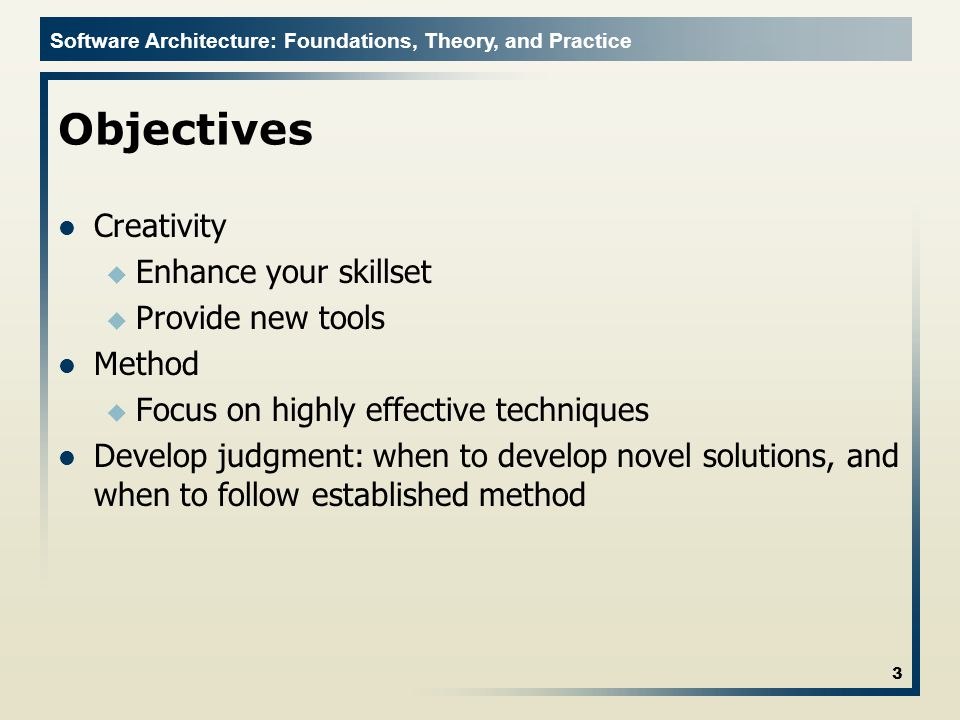 Software Architecture: Foundations, Theory, and Practice Architectural Styles An architectural style is a named collection of architectural design decisions that are applicable in a given development context constrain architectural design decisions that are specific to a particular system within that context elicit beneficial qualities in each resulting system A primary way of characterizing lessons from experience in software system design Reflect less domain specificity than architectural patterns Useful in determining everything from subroutine structure to top-level application structure Many styles exist and we will discuss them in detail in the next lecture 24