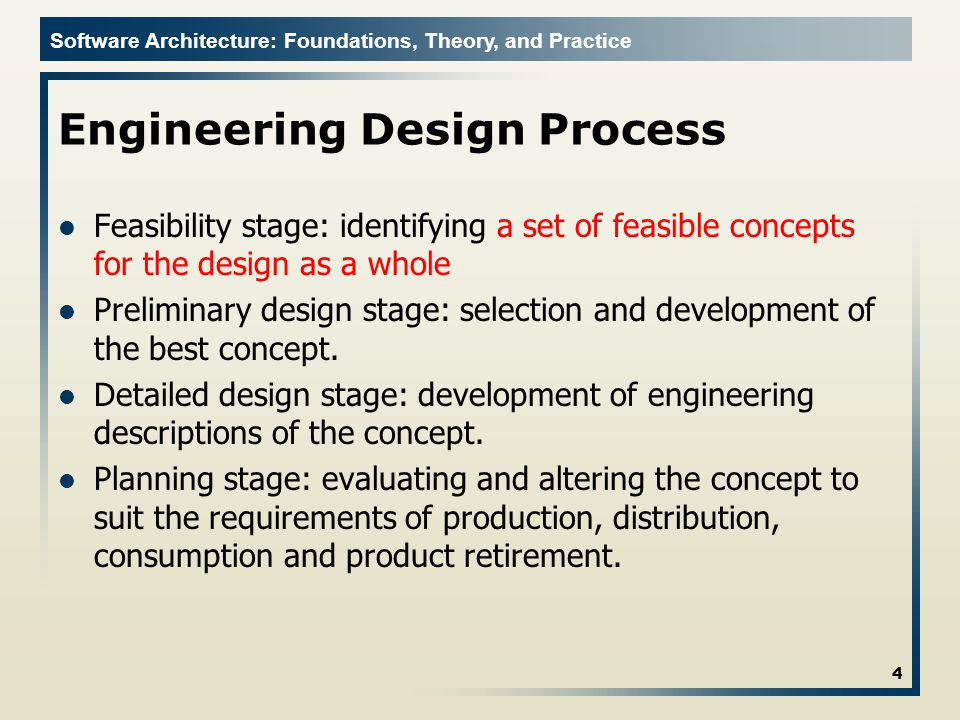 Software Architecture: Foundations, Theory, and Practice Potential Problems If the designer is unable to produce a set of feasible concepts, progress stops.