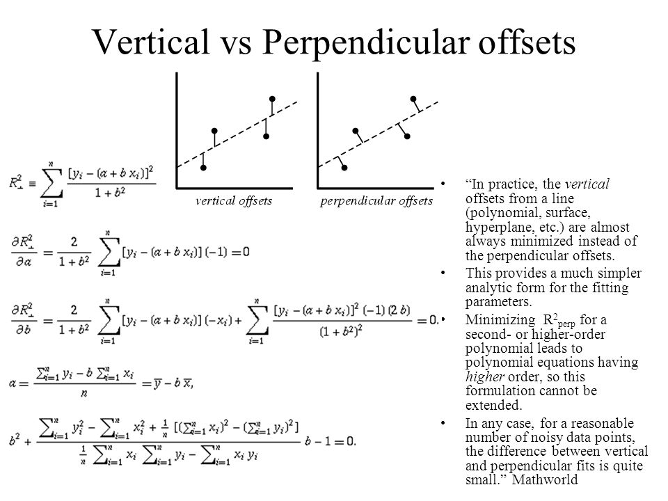 """Vertical vs Perpendicular offsets """"In practice, the vertical offsets from a line (polynomial, surface, hyperplane, etc.) are almost always minimized i"""