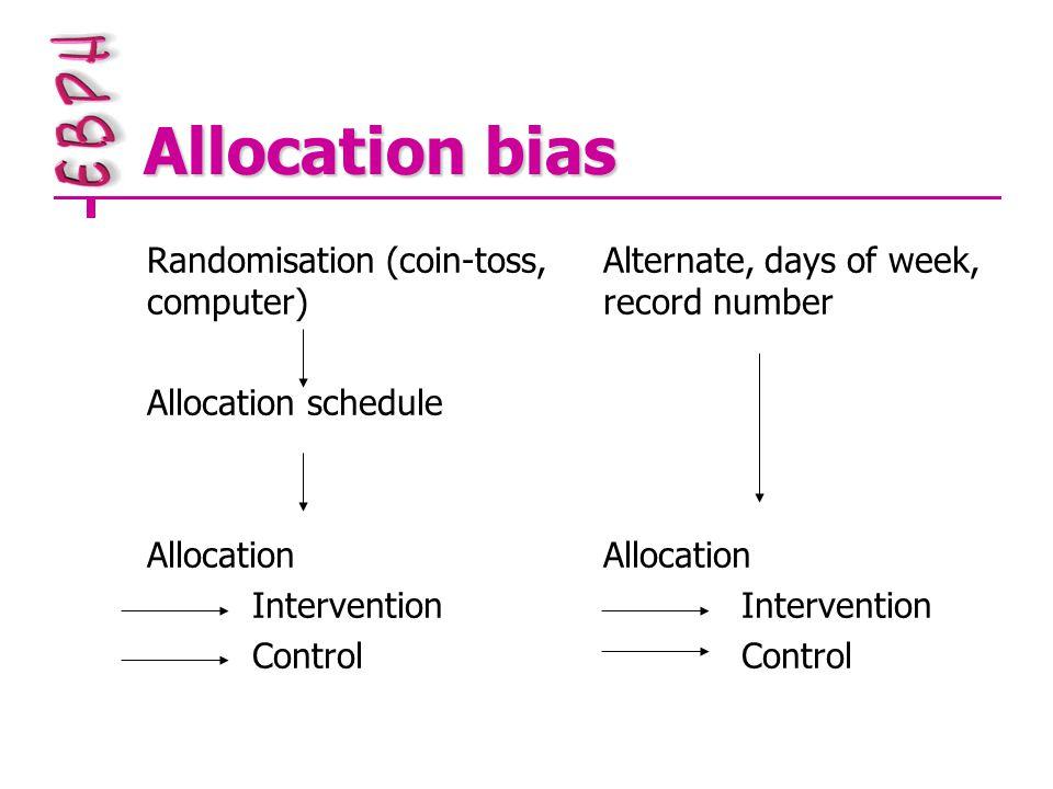 Allocation bias Randomisation (coin-toss, computer) Allocation schedule Allocation Intervention Control Alternate, days of week, record number Allocat