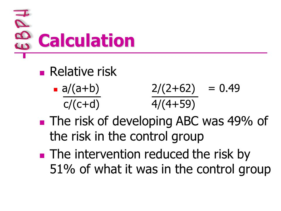 Calculation Relative risk a/(a+b)2/(2+62)= 0.49 c/(c+d)4/(4+59) The risk of developing ABC was 49% of the risk in the control group The intervention reduced the risk by 51% of what it was in the control group
