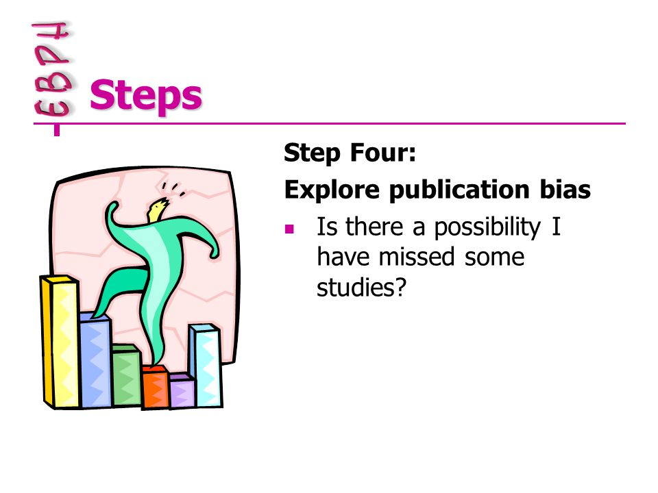 Steps Step Four: Explore publication bias Is there a possibility I have missed some studies