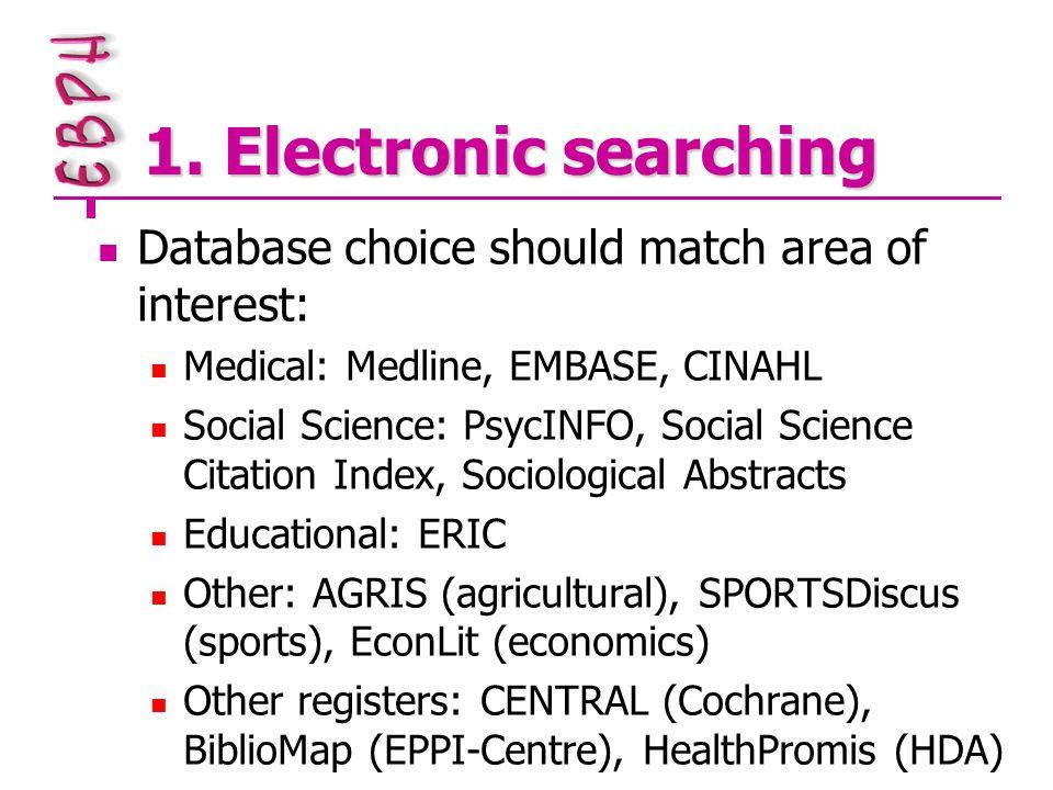1. Electronic searching Database choice should match area of interest: Medical: Medline, EMBASE, CINAHL Social Science: PsycINFO, Social Science Citat