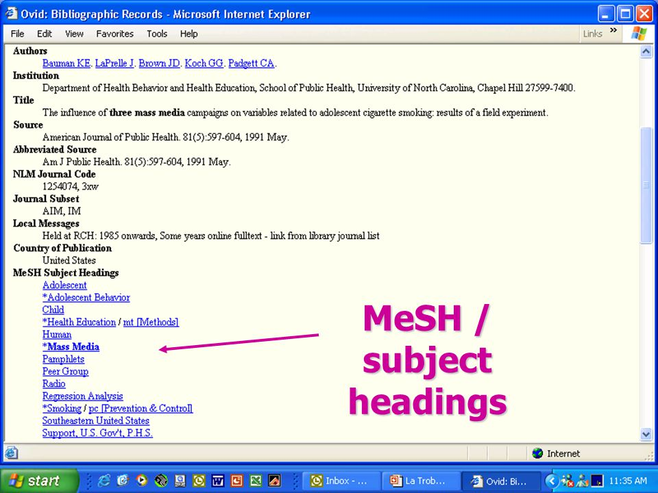 MeSH / subject headings