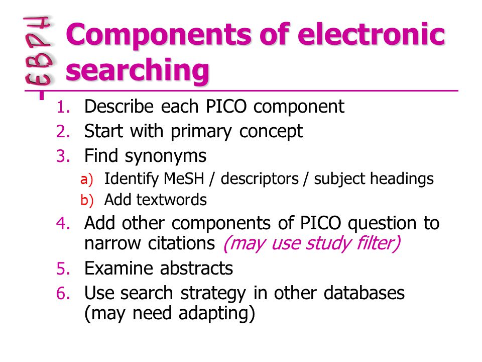 Components of electronic searching 1. Describe each PICO component 2.