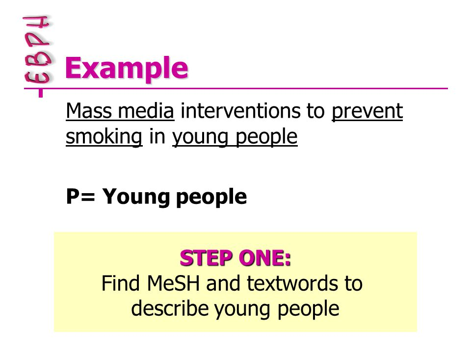 Example Mass media interventions to prevent smoking in young people P= Young people STEP ONE: Find MeSH and textwords to describe young people