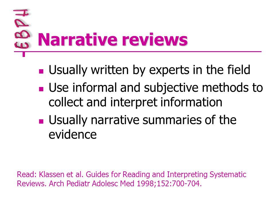 Critical appraisal II: Qualitative studies