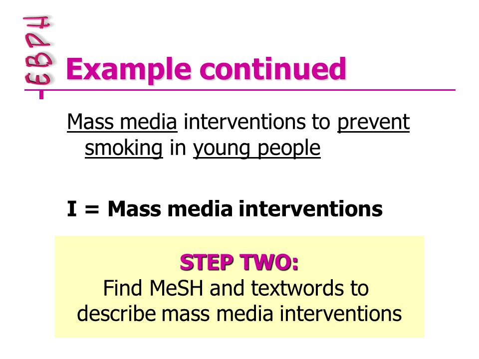 Example continued Mass media interventions to prevent smoking in young people I = Mass media interventions STEP TWO: Find MeSH and textwords to describe mass media interventions