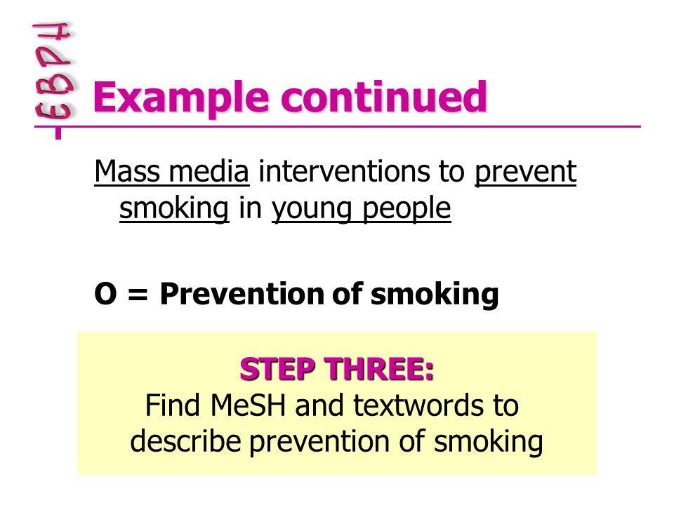 Example continued Mass media interventions to prevent smoking in young people O = Prevention of smoking STEP THREE: Find MeSH and textwords to describe prevention of smoking