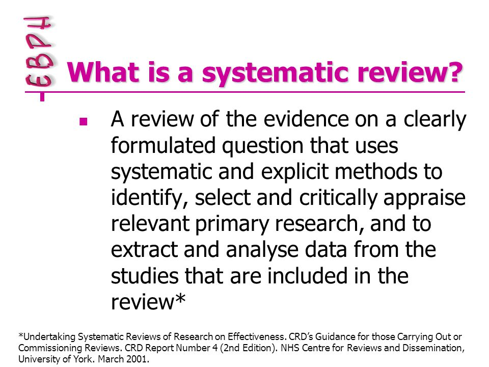 Guidelines for HP/PH reviews Cochrane Health Promotion and Public Health Field website http://www.vichealth.vic.gov.au/cochrane /activities/guidelines.htm