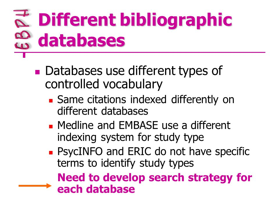 Different bibliographic databases Databases use different types of controlled vocabulary Same citations indexed differently on different databases Medline and EMBASE use a different indexing system for study type PsycINFO and ERIC do not have specific terms to identify study types Need to develop search strategy for each database