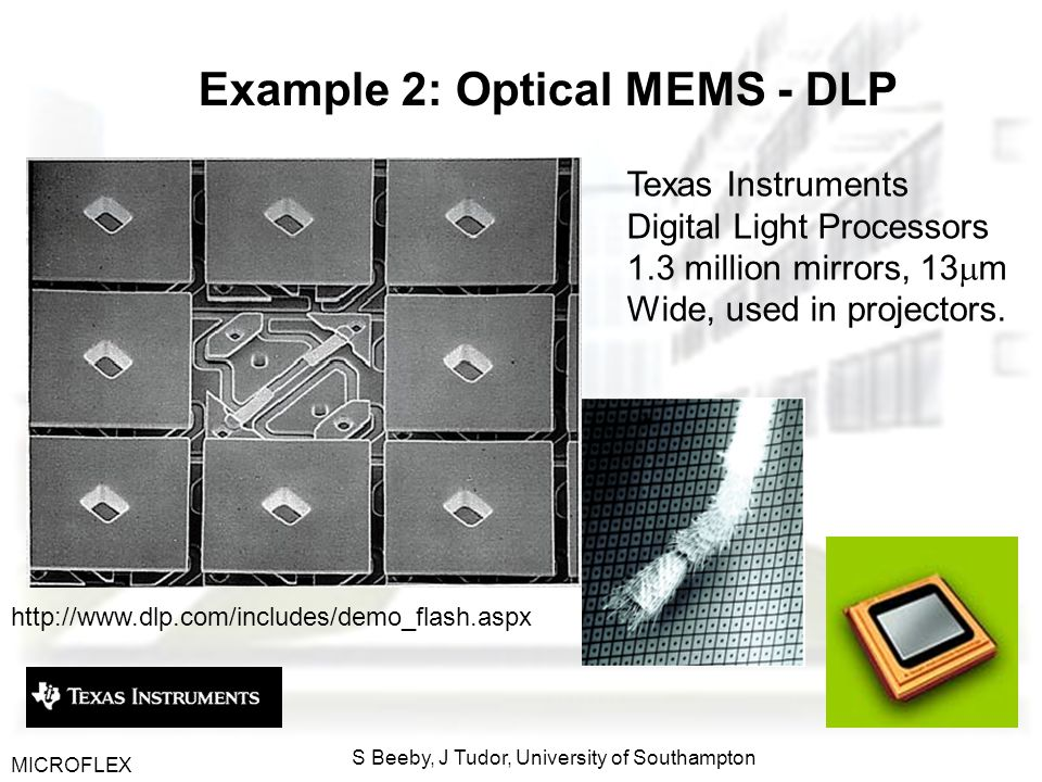 MICROFLEX S Beeby, J Tudor, University of Southampton Example 2: Optical MEMS - DLP Texas Instruments Digital Light Processors 1.3 million mirrors, 13