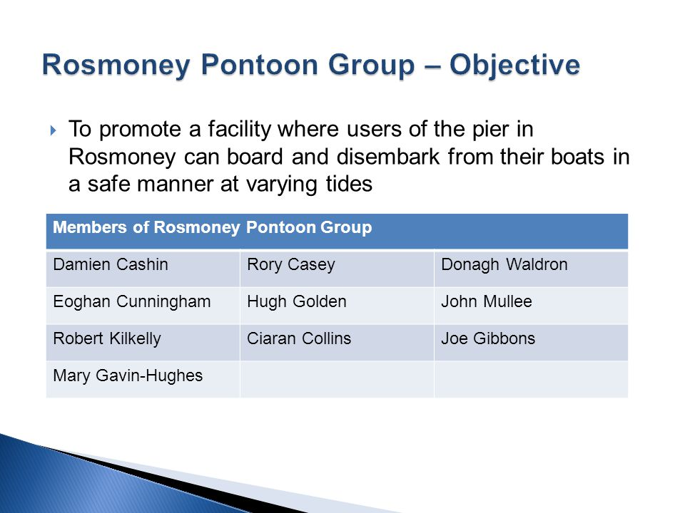  To promote a facility where users of the pier in Rosmoney can board and disembark from their boats in a safe manner at varying tides Members of Rosmoney Pontoon Group Damien CashinRory CaseyDonagh Waldron Eoghan CunninghamHugh GoldenJohn Mullee Robert KilkellyCiaran CollinsJoe Gibbons Mary Gavin-Hughes