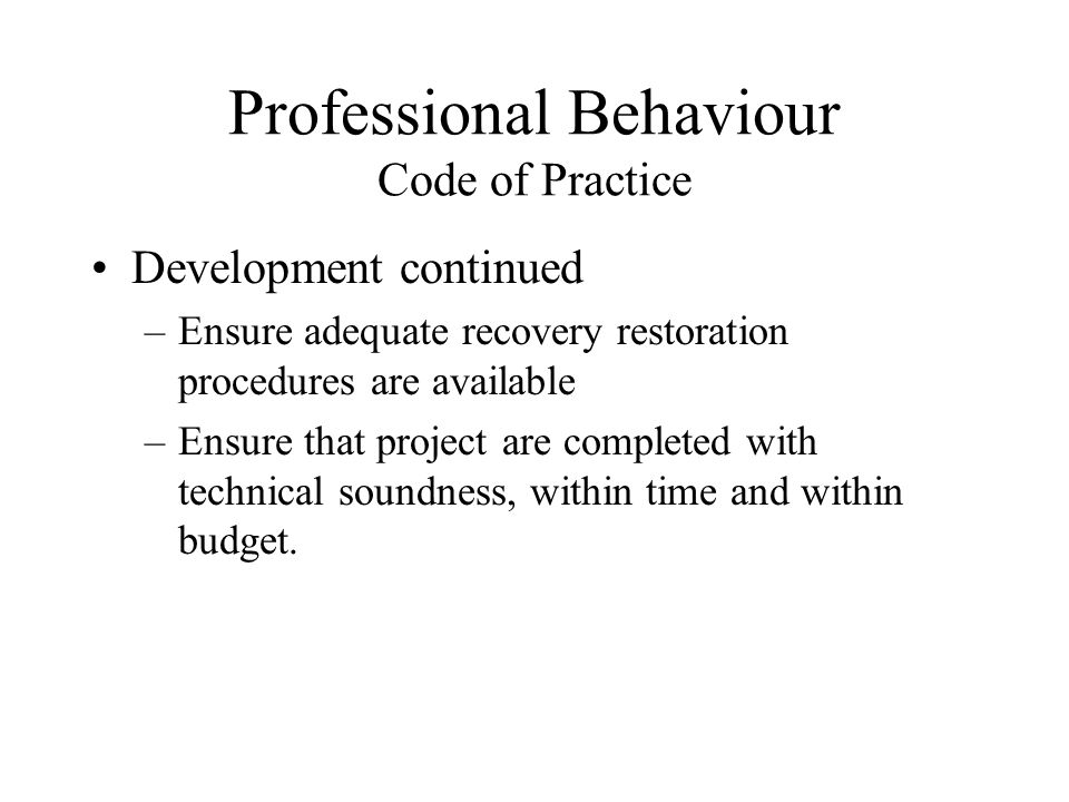 Professional Behaviour Code of Practice Development continued –Ensure adequate recovery restoration procedures are available –Ensure that project are