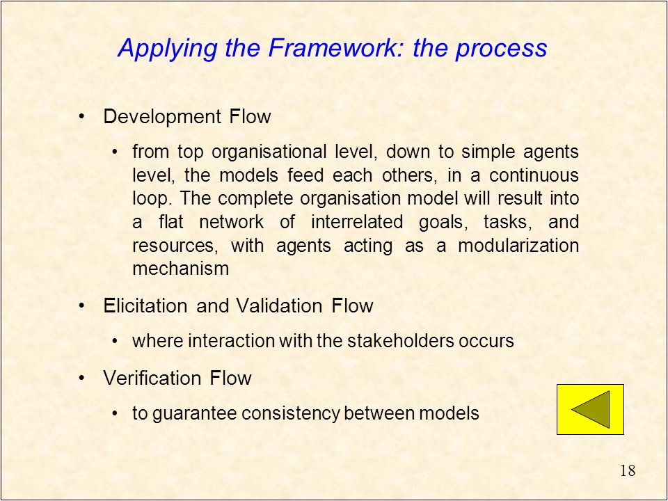 18 Applying the Framework: the process Development Flow from top organisational level, down to simple agents level, the models feed each others, in a continuous loop.