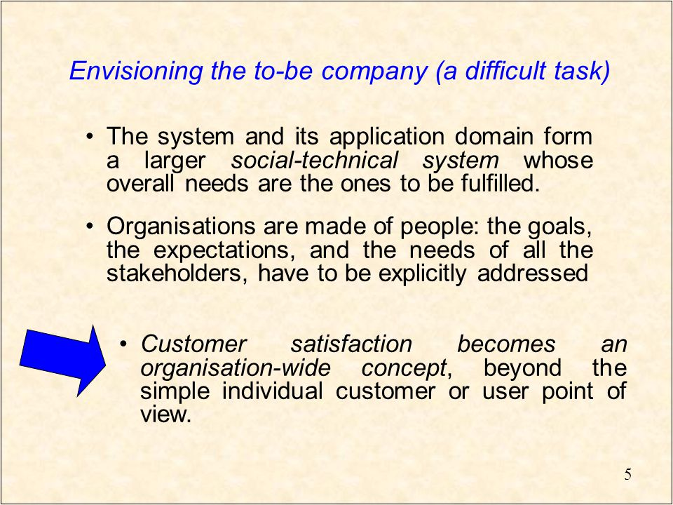 5 Envisioning the to-be company (a difficult task) The system and its application domain form a larger social-technical system whose overall needs are the ones to be fulfilled.