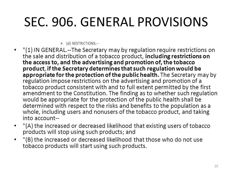 SEC. 906. GENERAL PROVISIONS » (d) RESTRICTIONS.--
