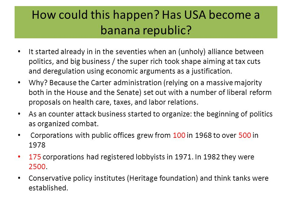 How could this happen. Has USA become a banana republic.
