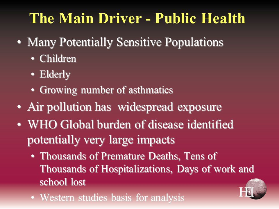 The Main Driver - Public Health Many Potentially Sensitive PopulationsMany Potentially Sensitive Populations ChildrenChildren ElderlyElderly Growing n