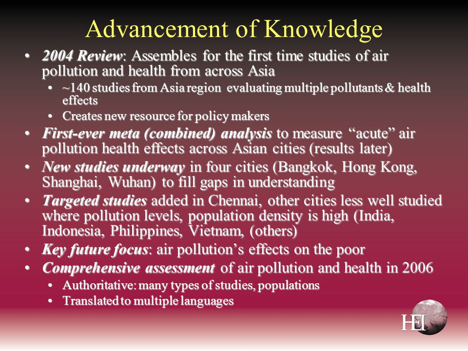 Advancement of Knowledge 2004 Review: Assembles for the first time studies of air pollution and health from across Asia2004 Review: Assembles for the
