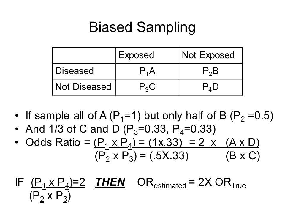 Biased Sampling ExposedNot Exposed DiseasedP1AP1AP2BP2B Not DiseasedP3CP3CP4DP4D If sample all of A (P 1 =1) but only half of B (P 2 =0.5) And 1/3 of