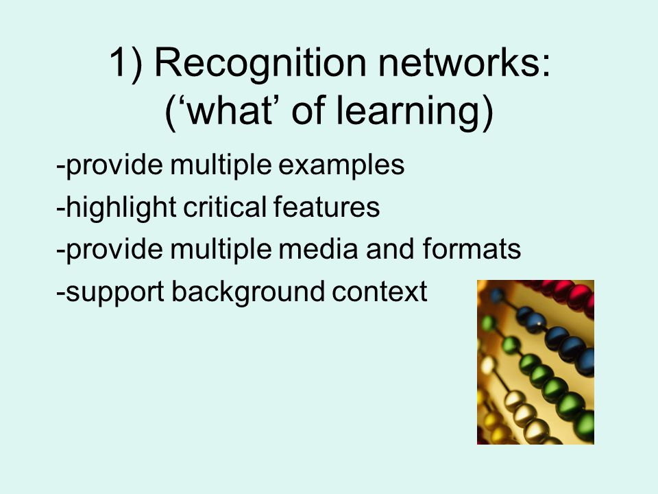 1) Recognition networks: ('what' of learning) -provide multiple examples -highlight critical features -provide multiple media and formats -support background context