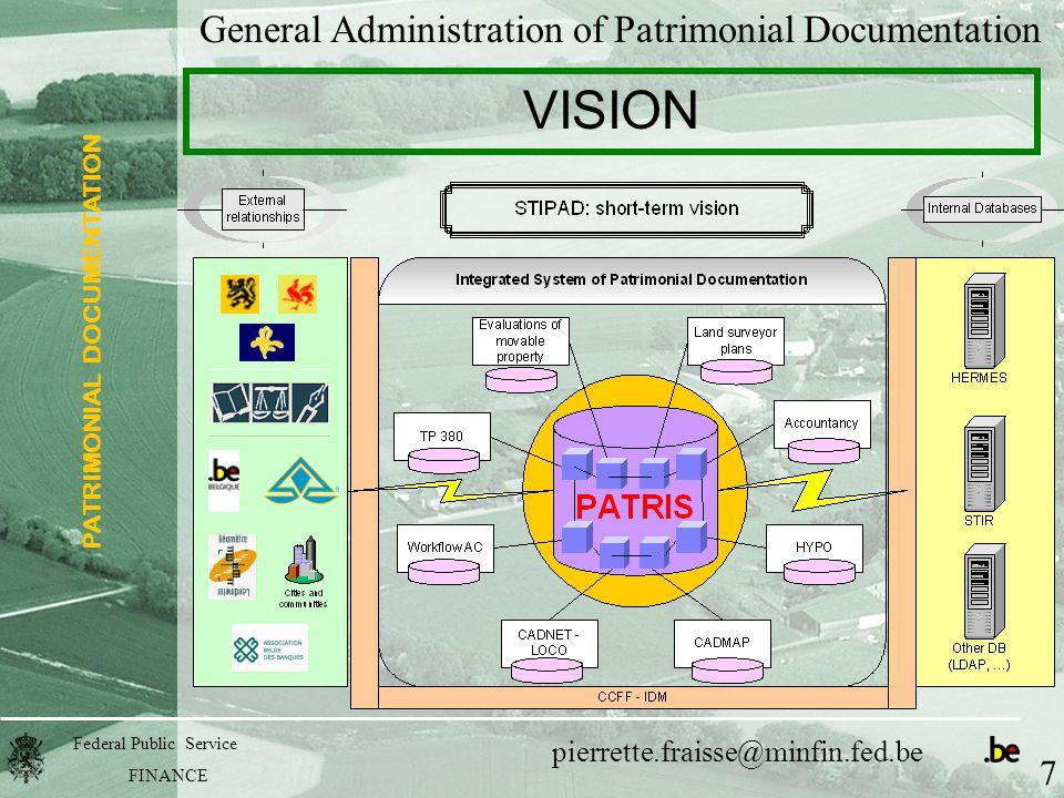 PATRIMONIAL DOCUMENTATION Federal Public Service FINANCE pierrette.fraisse@minfin.fed.be General Administration of Patrimonial Documentation VISION 7