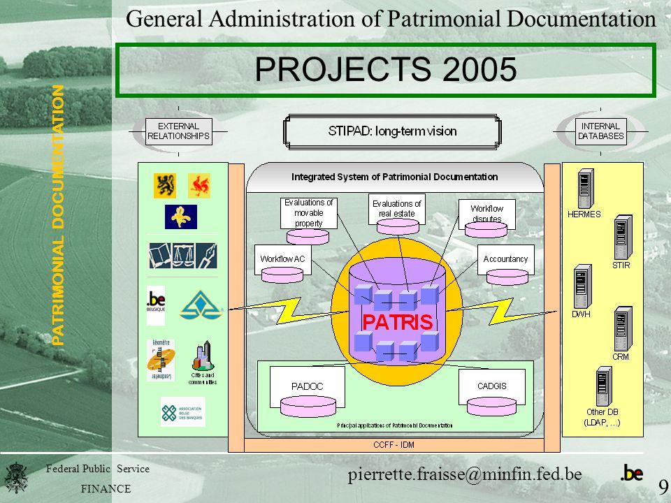 PATRIMONIAL DOCUMENTATION Federal Public Service FINANCE pierrette.fraisse@minfin.fed.be General Administration of Patrimonial Documentation PROJECTS 2005 9