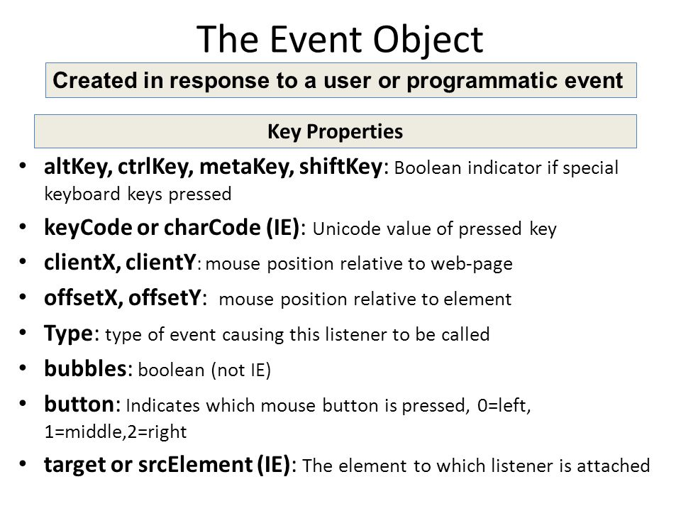 The Event Object Key Properties altKey, ctrlKey, metaKey, shiftKey: Boolean indicator if special keyboard keys pressed keyCode or charCode (IE): Unicode value of pressed key clientX, clientY : mouse position relative to web-page offsetX, offsetY: mouse position relative to element Type: type of event causing this listener to be called bubbles: boolean (not IE) button: Indicates which mouse button is pressed, 0=left, 1=middle,2=right target or srcElement (IE): The element to which listener is attached Created in response to a user or programmatic event