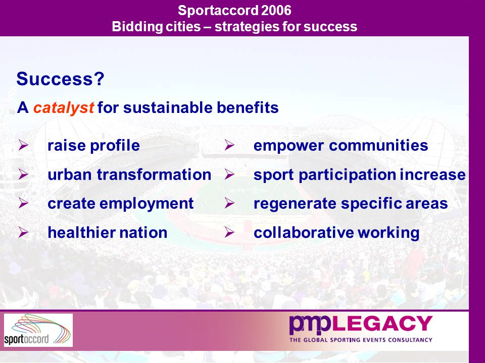 Sportaccord 2006 Bidding cities – strategies for success Success.