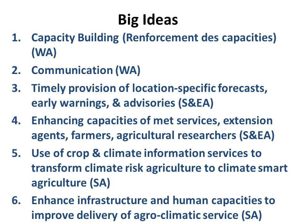 Big Ideas 1.Capacity Building (Renforcement des capacities) (WA) 2.Communication (WA) 3.Timely provision of location-specific forecasts, early warnings, & advisories (S&EA) 4.Enhancing capacities of met services, extension agents, farmers, agricultural researchers (S&EA) 5.Use of crop & climate information services to transform climate risk agriculture to climate smart agriculture (SA) 6.Enhance infrastructure and human capacities to improve delivery of agro-climatic service (SA)