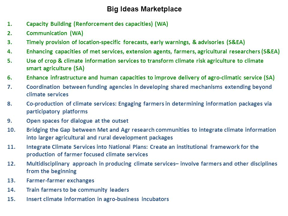 1.Capacity Building (Renforcement des capacities) (WA) 2.Communication (WA) 3.Timely provision of location-specific forecasts, early warnings, & advisories (S&EA) 4.Enhancing capacities of met services, extension agents, farmers, agricultural researchers (S&EA) 5.Use of crop & climate information services to transform climate risk agriculture to climate smart agriculture (SA) 6.Enhance infrastructure and human capacities to improve delivery of agro-climatic service (SA) 7.Coordination between funding agencies in developing shared mechanisms extending beyond climate services 8.Co-production of climate services: Engaging farmers in determining information packages via participatory platforms 9.Open spaces for dialogue at the outset 10.Bridging the Gap between Met and Agr research communities to integrate climate information into larger agricultural and rural development packages 11.Integrate Climate Services into National Plans: Create an institutional framework for the production of farmer focused climate services 12.Multidisciplinary approach in producing climate services– involve farmers and other disciplines from the beginning 13.Farmer-farmer exchanges 14.Train farmers to be community leaders 15.Insert climate information in agro-business incubators Big Ideas Marketplace