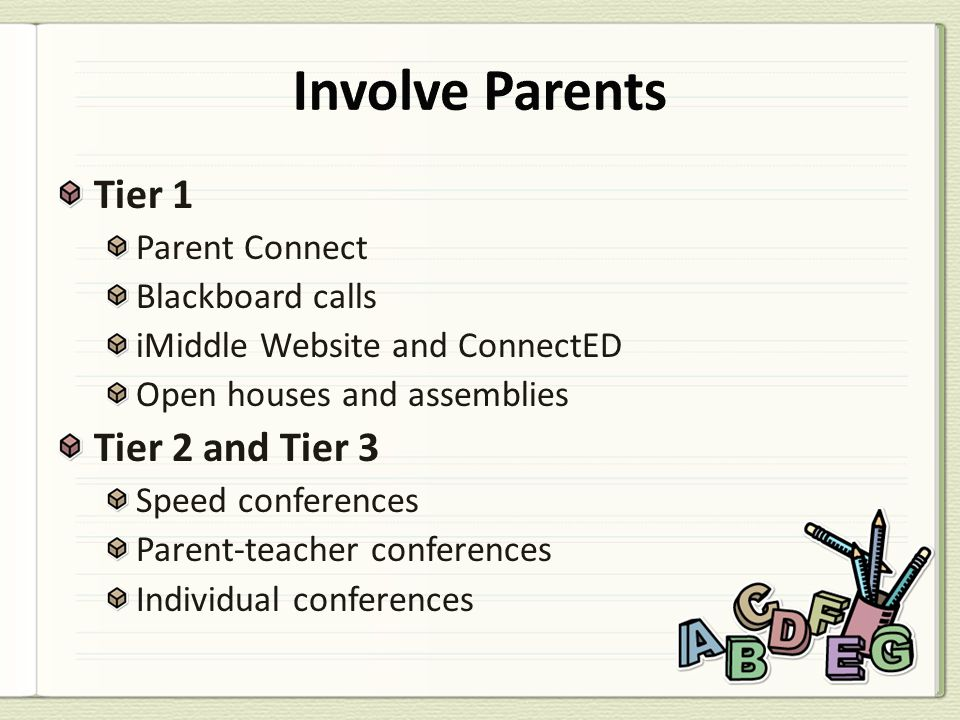 Tier 1 Parent Connect Blackboard calls iMiddle Website and ConnectED Open houses and assemblies Tier 2 and Tier 3 Speed conferences Parent-teacher con