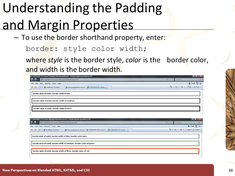 XP Understanding the Padding and Margin Properties – To use the border shorthand property, enter: border: style color width; where style is the border style, color is the border color, and width is the border width.