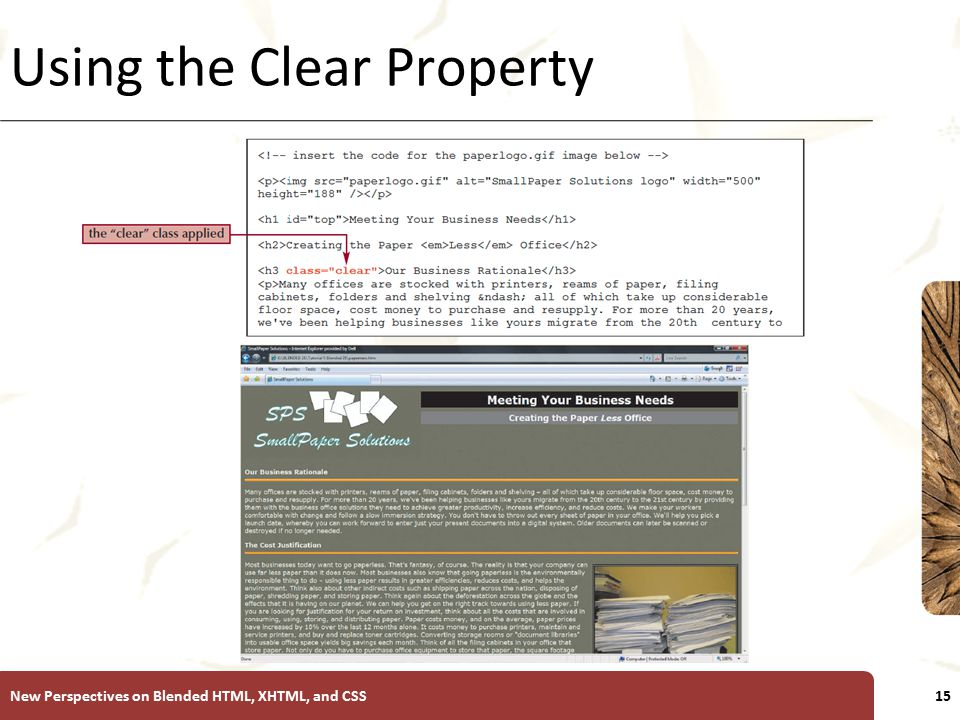 XP Using the Clear Property New Perspectives on Blended HTML, XHTML, and CSS15