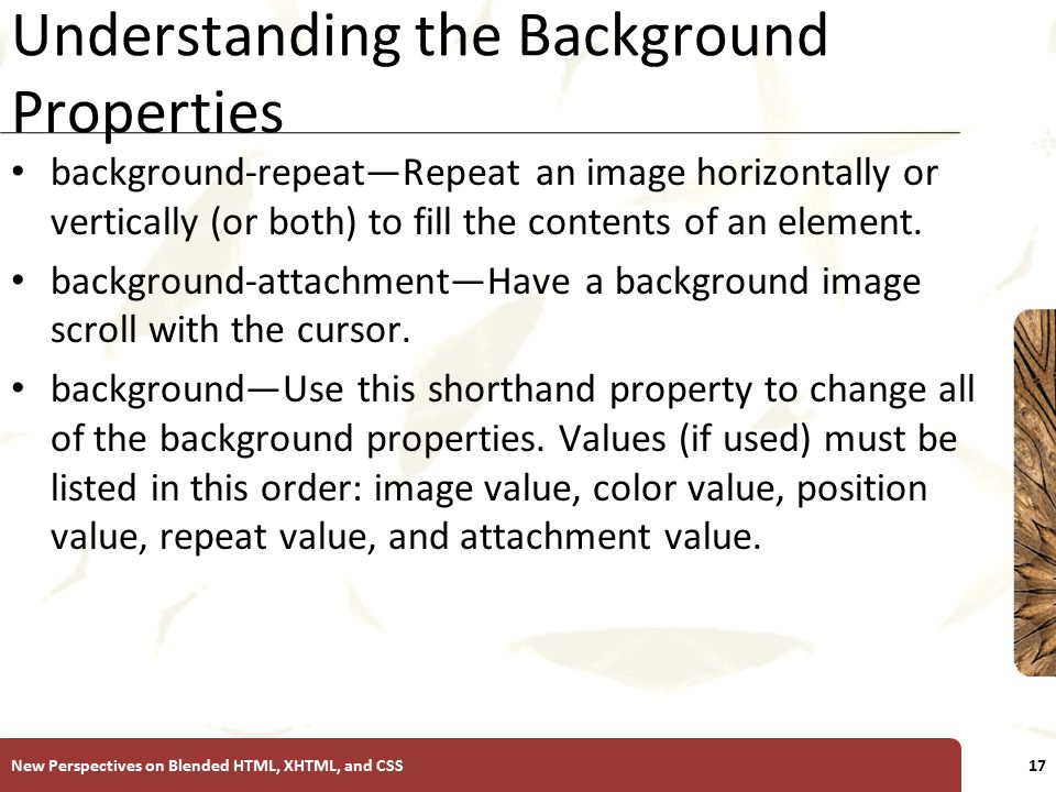 XP Understanding the Background Properties background-repeat—Repeat an image horizontally or vertically (or both) to fill the contents of an element.