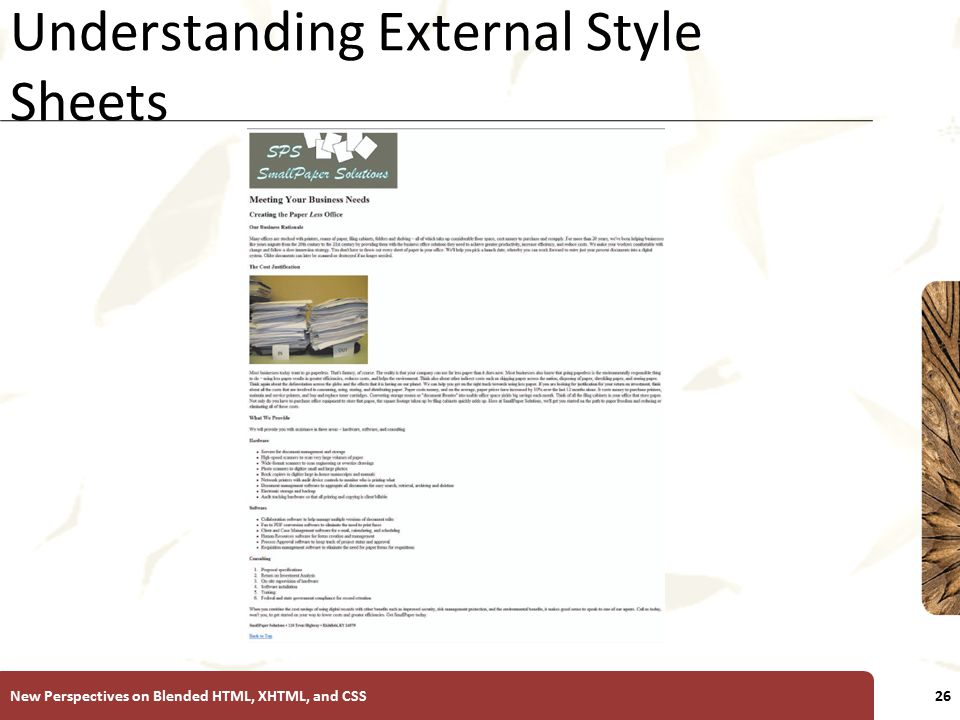 XP Understanding External Style Sheets New Perspectives on Blended HTML, XHTML, and CSS26