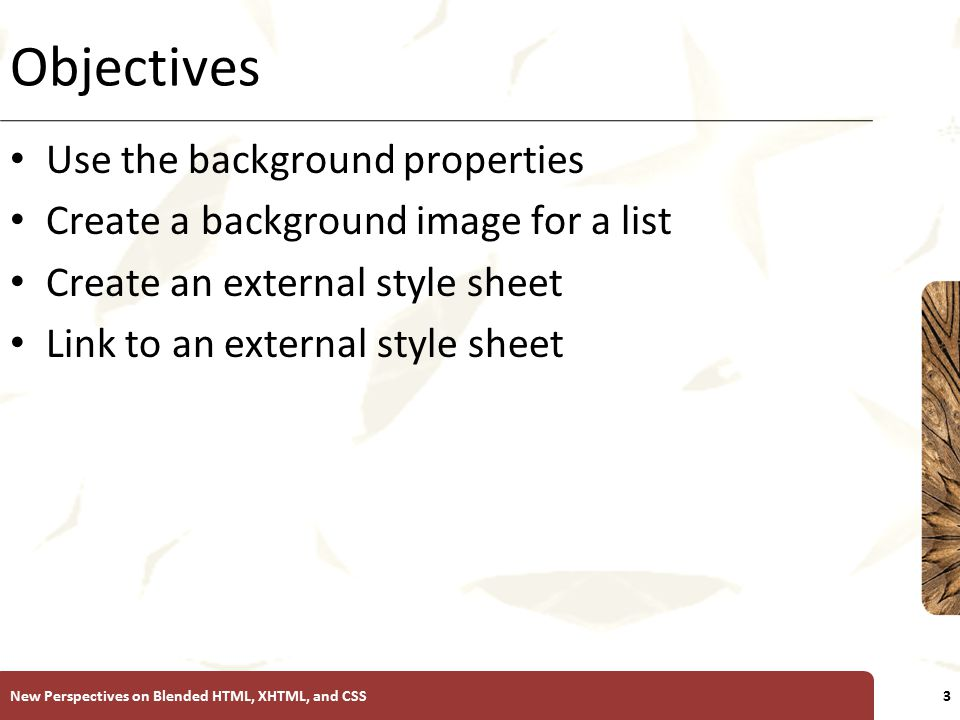 XP Objectives Use the background properties Create a background image for a list Create an external style sheet Link to an external style sheet New Perspectives on Blended HTML, XHTML, and CSS3